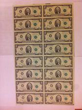 1976 Uncut Sheet X 16 Crisp USA 2 Dollars Uncirculated $2 LEGAL MONEY GIFT BILLS