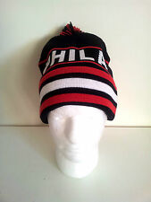PHILADELPHIA (Black/Red ) Pom Striped Knit Beanie Cuff Skull Cap