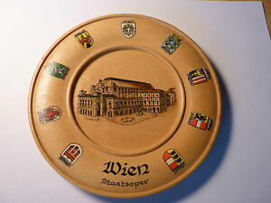 "Vintage 49 yrold VIENNA AUSTRIA WIEN 6"" Wooden Collectible Plate WOW OPERA HOUSE"