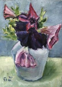 Still Life with Flowers original oil painting Impressionism
