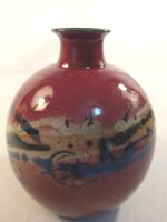 """Vintage T. Weber Signed Pottery Ceramic Vase 6.75"""" Tall Pot Hand Thrown & Paint"""