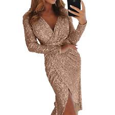 Women Sexy Dress Long Sleeve V-neck Slim Sequin Bodycon Slit Dress Party Club
