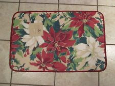 "Christmas Poinsettia Holiday Kitchen Door Floor Mat Rug Rectangle 28"" X 18"""