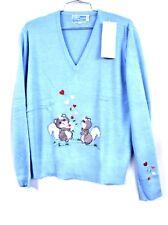 """VTG 70's LeRoy """"Squirrels """" Sz. L NWT Fairy Kei Baby Blue Acrylic Hearts"""