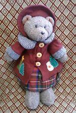 "RUSS Berrie BELLA plush TEDDY BEAR Christmas 18"" snowman coat buttons No Tag"