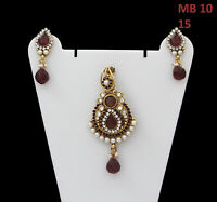Pendant with Earrings Gold Plated Wine Color Crystal, White CZ, Pearl for Girls