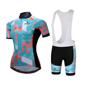 Cycling Kit Women's Bicycle Clothing Bike Cycle Jersey and Bib Shorts Padded Set