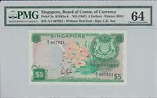 Singapore Orchid $5 LKS A/1 907921 UNC PMG 64 First Prefix Rare