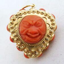 "1.725"" Vintage 18K Gold Reversible Pendant w/ Tibetan ? Red Coral Gods  (19.8g)"