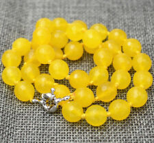 10mm Faceted South American Yellow Topaz Gemstone Beads Necklace 18'' AAA