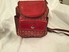Brighton Julia Red Leather Canvas Backpack Purse Textured