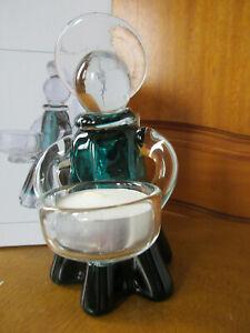 AMELIA ART GLASS ANGEL TEA LIGHT HOLDER TURQUOISE 15cm  IDEAL FOR CHRISTMAS