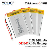 4Pcs 3.7V 900mAh 603048 Li-ion Battery With PCB For MP3 MP4 Drone Game Player 7