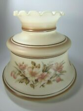 Vintage Quoizel Milk Glass Brown Satin Strawberries Shade 28880 Fitter Hurricane