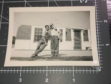 Affectionate Guys Lean on Each Other Friends Men Man Vintage Snapshot Photo
