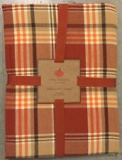 "Well Dressed Home Orange Tartan Plaid Round Tablecloth 60"" Thanksgiving"