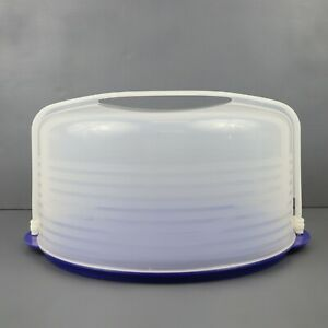 "Tupperware Bake N Take 12"" Round Cake / Pie Taker Carrier w/Handle Blue Clear"