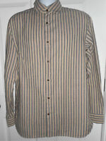 Banana Republic Men's L  Long Sleeve Tan & Blue Striped Button Down Shirt