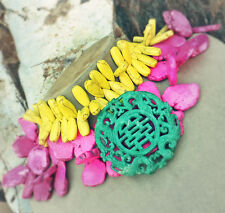 GENUINE JADE Carved Pendant NECKLACE Turquoise Howlite Stone Pink Yellow Green