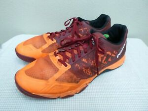 REEBOK CROSSFIT 11.5 45 Burgundy Neon Athletic Training Running Trail Sneakers