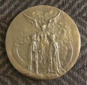 ALLIANCE OF BRITAIN AND PORTUGAL,600th A,STUNNING RARE BRONZE MEDAL.90 MM,206 GR