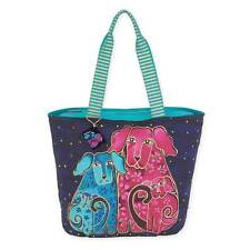 Blossoming Pups Laurel Burch Large Canvas Shoulder Tote Bag