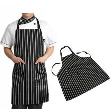 Black Adjustable Adult Stripe Bib Apron with 2 Pockets Chef Kitchen Waiter Cook