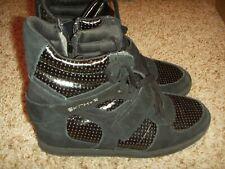 46a23a9c0dd40 Skechers SKCH+3 48107 Black Suede Hidden Wedge Sneakers Womens Size 7.5