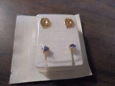 Birthstone Earrings Piercing Studs Surgical Steel Dark Blue