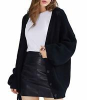Womens 100% Cotton Button-Down Long Sleeve Oversized Knit Cardigan Sweater