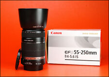 Canon EF-S 55-250mm F4-5.6 Image Stabilizer AF Zoom Lens + F/R Lens Caps + Hood