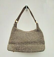 "ORVIS SHOULDER / HAND BAG BLACK & BEIGE WOVEN VGC APPROX 14 X 7 X 4"" FREE UK P&P"