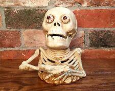 Cast Iron Gold Coin Skeleton Miser Vintage Mechanical Coin Bank