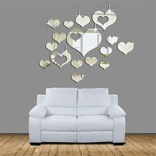 15pcs Home 3D Mirror Removable Heart Art Wall Stickers Living Room Decoration