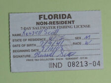 2003 Florida Non-Resident 7-Day Saltwater Fishing License.Free Shipping!