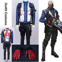 Overwatch 76 Soldier Outfit Uniform PU Leather Cosplay Costume Jacket Pants&ACC
