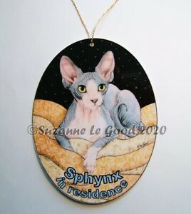 Sphynx Cat in residence art painting house sign from original by Suzanne Le Good