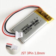 3.7v 250mAh Lipo Polymer Battery JST 3pin 1.0mm plug GPS MP3 power supply 402035