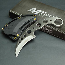 "MTECH 7"" 440 Stainless Satin Skeletonized Tactical Karambit Neck Knife New!"