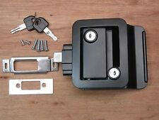 Black RV Entry Door Lock Handle Knob w / deadbolt Camper Travel Trailer NEW FIC