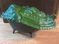 Antique Cast Iron NESTOR MARTIN FOUNDRY Victorian Porcelain COAL SCUTTLE pre1890