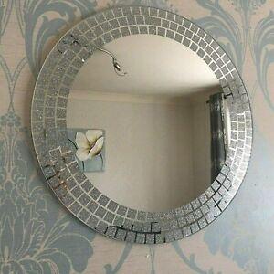 Round Wall Mounted Mirror Frameless Bathroom  Living Room 50cm -Square Corner