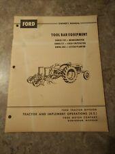 Ford 110 111 305 Tool Bar Equipment Original Operators Manual