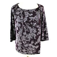 Classics Floral Print 3/4 Sleeve Boat Neck Summer Top 12 14 Purple White Formal
