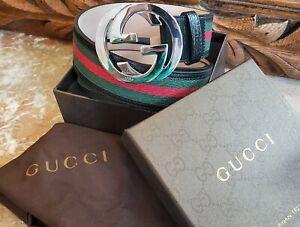 Gucci Classic Leather Belt - Red/Green Stripe 95cm Belt 114984