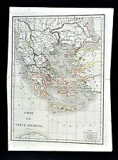 1830 Langlois Atlas Map - Ancient Greece - Athens Sparta Corinth Delphi Olympia