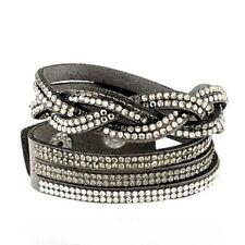 Bracelet manchette cuir et petit strass gris,blanc et noir, bijou fantaisie