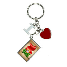 Vintage Portugal Flag - Portuguese I Heart Love Keychain Key Ring