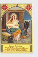 ANTIQUE POSTCARD CHRISTMAS MARY JESUS DONKEY GOLD FOIL