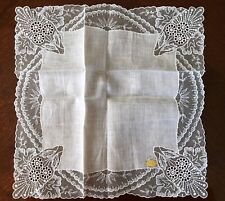 Vintage Ivory Irish Linen Wide Embroidered Lace Hankie New w/ Tag Wedding